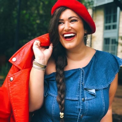 The gorgeous @anabeth.jpg is red-y for anything in our One Shoulder Denim Jumpsuit with Ruffle and red Moto Jacket ♥️ Shop her look at the link in bio #XOQ