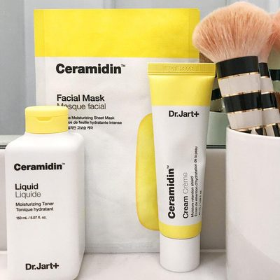 """""""I added these products to the morning routine and my skin is SO thankful. Dr. Jart+ hydrating facial routine is just what the doctor ordered. If you have extremely dry skin or live in a drier climate, the Ceramidin formula is for you!"""" - Birchbox customer @closetfullofcocktail's review of Dr. Jart+ Ceramidin Liquid toner, Skin-Friendly Nanoskin Sheet Mask, and Cream. 📸: @closetfullofcocktails"""