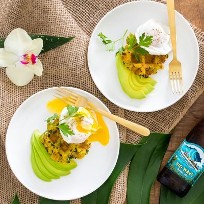 #NationalSeafoodMonth brunch inspiration: A crispy, waffled wild @alaskaseafood pollock cake, served with a poached egg and avocado. On repeat, all October long. Link in bio. #Ad