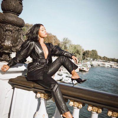 oui, je t'aime 🖤 @cococuenco wearing @lacademie_ leather jacket & pants @rayethelabel Oliver heels #revolvearoundtheworld