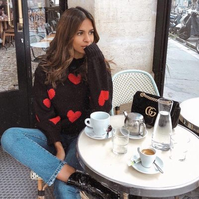 wear your heart on your sweater sleeve ❤️ @emitaz in @loversfriendsla heart sweater - link in bio to shop! tag us + #revolveme for a chance to be reposted