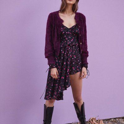 Autumn girl. The Lou Cardigan & Rosie Ruffled Mini Dress 🌸🖤