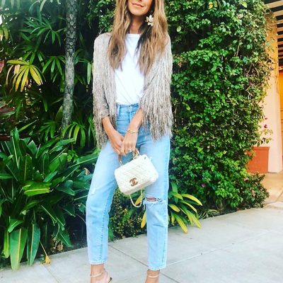 How much I love my sweet friend and beyond beautiful @ariellecharnas wearing my forever favorite Isla metallic fringe @shoprachelzoe cardigan ✨Link in bio🔥 #metallicmonday #fringeforever xoRZ