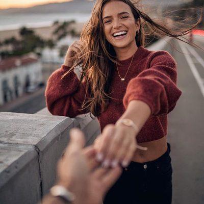happiness is contagious 💕 @helenowen wearing #chrissyxrevolve sweater & @shopredone denim