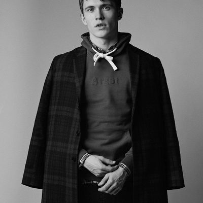 Layering up with a cotton hoodie and a tailored check coat, is perfect for the autumn weather. #lesdeux #coat #hoodie