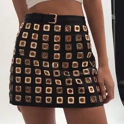 Tough but cute 🖤 The Deco Stud Skirt is made with hand applied grommets | Click link in bio to shop!